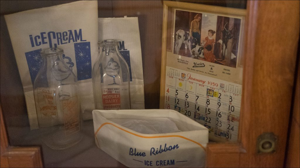 A historical display recalls Blue Ribbon Dairy and Drive-In, which operated in Noblesville nearly 40 years. Opened in 1935, the dairy built a plant on State Road 19 in 1939. In 1952, Blue Ribbon narrowed its focus to ice cream and later added curb service and a lunch counter