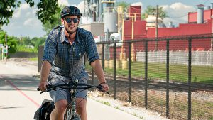 Bicyclist Matt Martin makes safety a priority on his daily commute to work downtown.