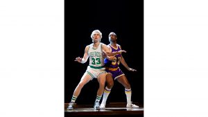 Tug Coker, left, and Kevin Daniels play basketball superstars Larry Bird and Earvin ''Magic'' Johnson in the Broadway production of ''Magic-Bird.''
