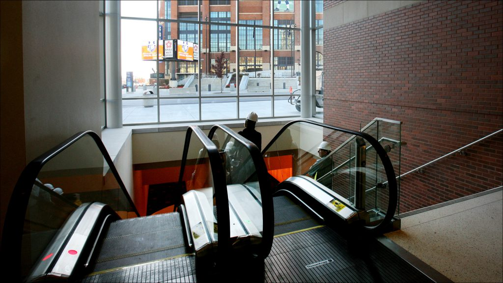 Southeast corner of the convention center, with escalators going down into the tunnel leading to Lucas Oil Stadium.