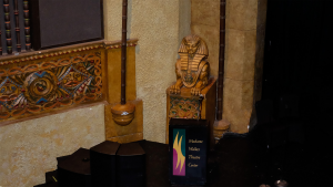The building's interior is replete with Egyptian and West African architectural touches.