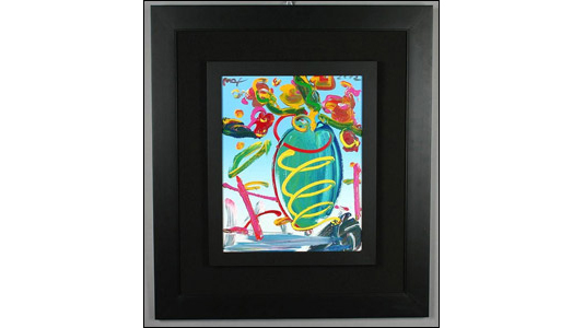 A 2002 Peter Max painting of a vase could fetch $2,000 or more.