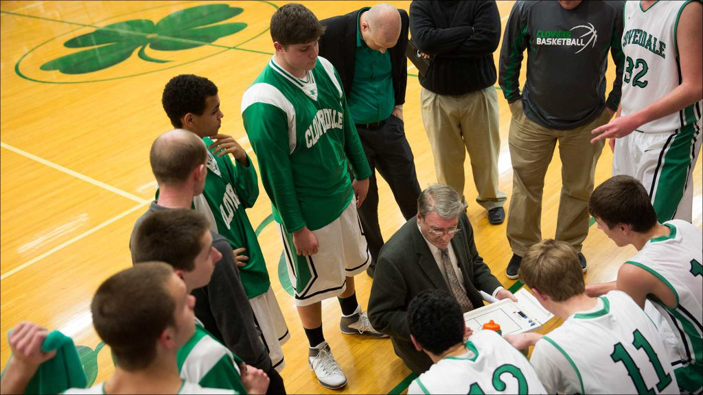 Pat Rady coached his Cloverdale High School Clovers on Feb. 18 to an 82-73 win over Greenwood Christian Academy.