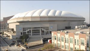 The RCA Dome prior to the roof being deflated.