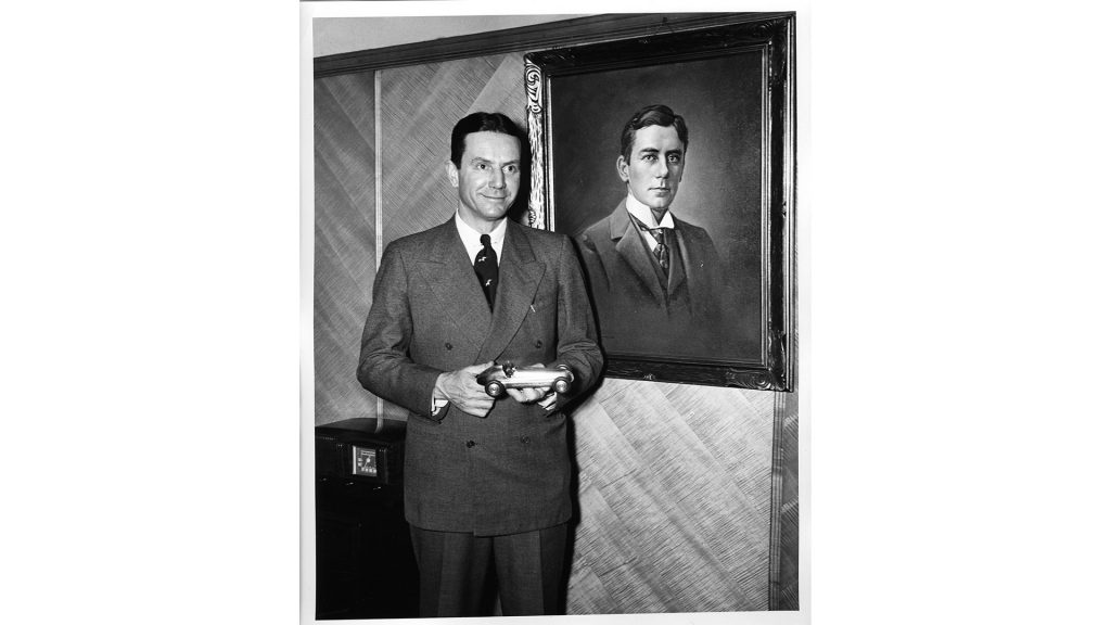 Anton ''Tony'' Hulman Jr. in 1946, the year he reopened the Indianapolis Motor Speedway. He inherited Hulman and Co. when his father, seen in the portrait, died in 1942.