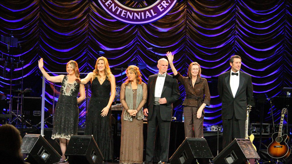 The IMS board at the 2009 Centennial Era Gala, from left: Kathi George-Conforti, Nancy George, Josie George, Jack Snyder, Chairwoman Mari Hulman George and Tony George.