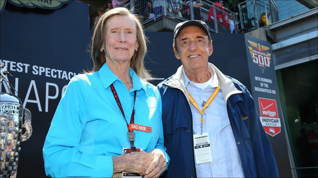 Mari Hulman George and Jim Nabors in 2014, the last year Nabors sang ''(Back Home Again in) Indiana.''