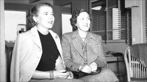 Mary Hulman, right, in 1950, with Edith McNaughton Ford, wife of Henry Ford's grandson Benson Ford.