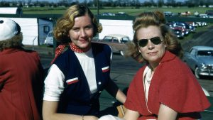 Mari Hulman, left, in 1953 with Bessie Lee Paoli, the first woman to own an Indy car. Paoli first entered a car in the 1952 race. In 1953, her Springfield Welding Special, driven by Art Cross, finished second.