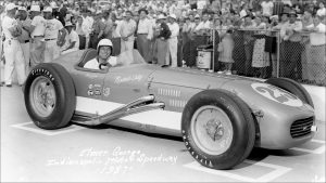 Elmer George, Mari Hulman George's new husband, in 1957, his first of three Indianapolis 500 races. George died in a shootout the night of the 1976 Indy 500.