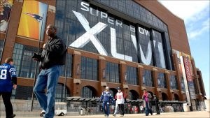Lucas Oil Stadium is the site of the NFL championship game between the New England Patriots and New York Giants.