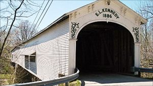 The covered bridge at Moscow was a community landmark until it was destroyed by a tornado in June 2008.