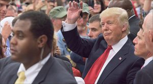 Republican presidential hopeful Donald Trump made his first campaign appearance in Indianapolis on April 20 at a rally at the Indiana State Fairgrounds.