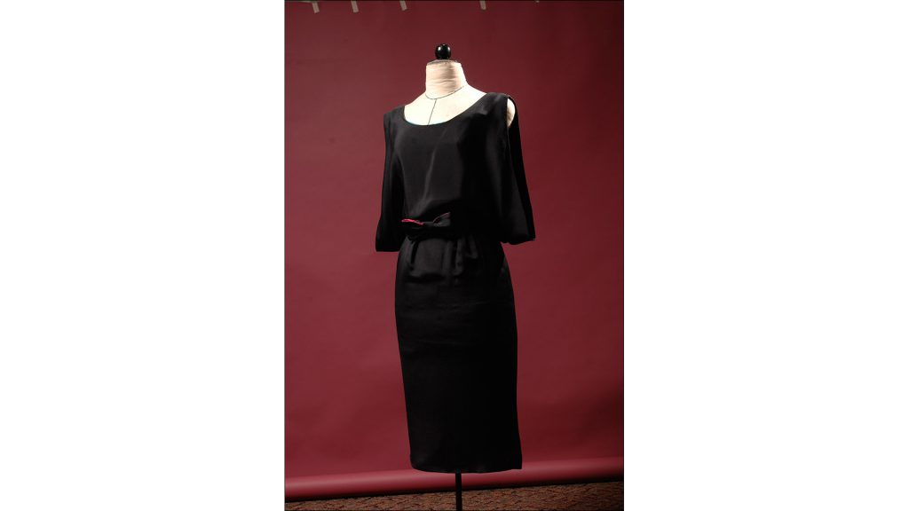 Black silk ''Gigi'' dress with capelet bodice by Doucette Douvall, $462, at 8 Fifteen