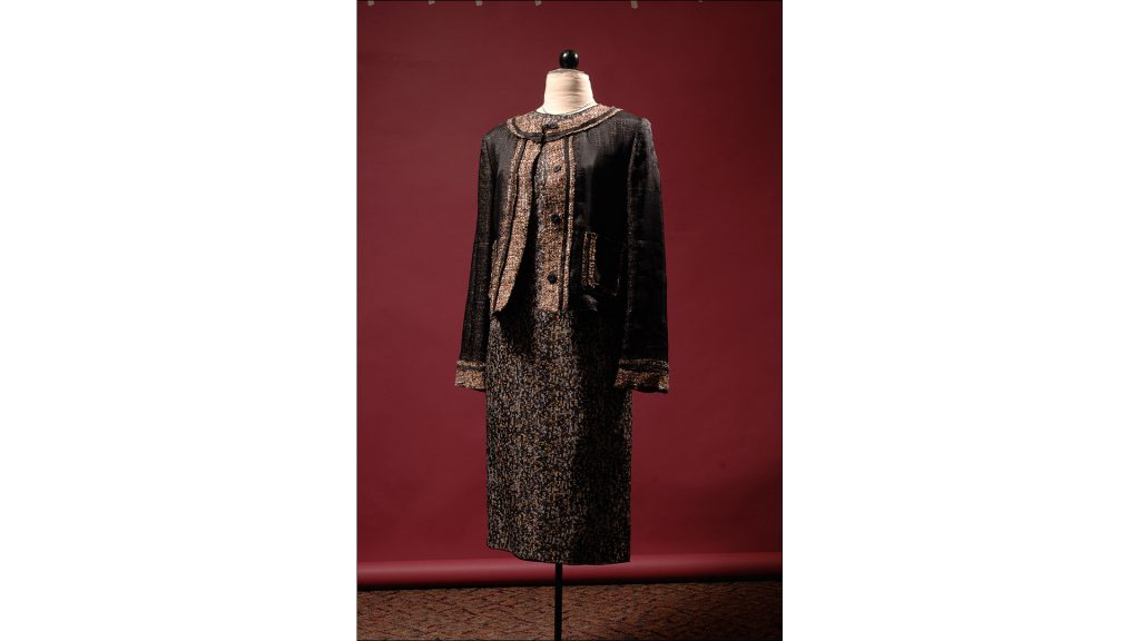 Brown and black tweed jacket with black organza overlay by Dolce and Gabbana, $685, at Nordstrom at the Fashion Mall